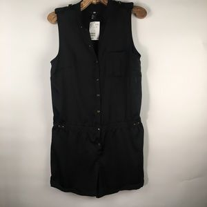H&M Black Romper Sz 12 sleeveless Buttons NWT
